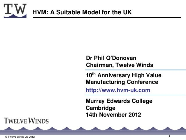 HVM: A Suitable Model for the UK                                      Dr Phil O'Donovan                                   ...