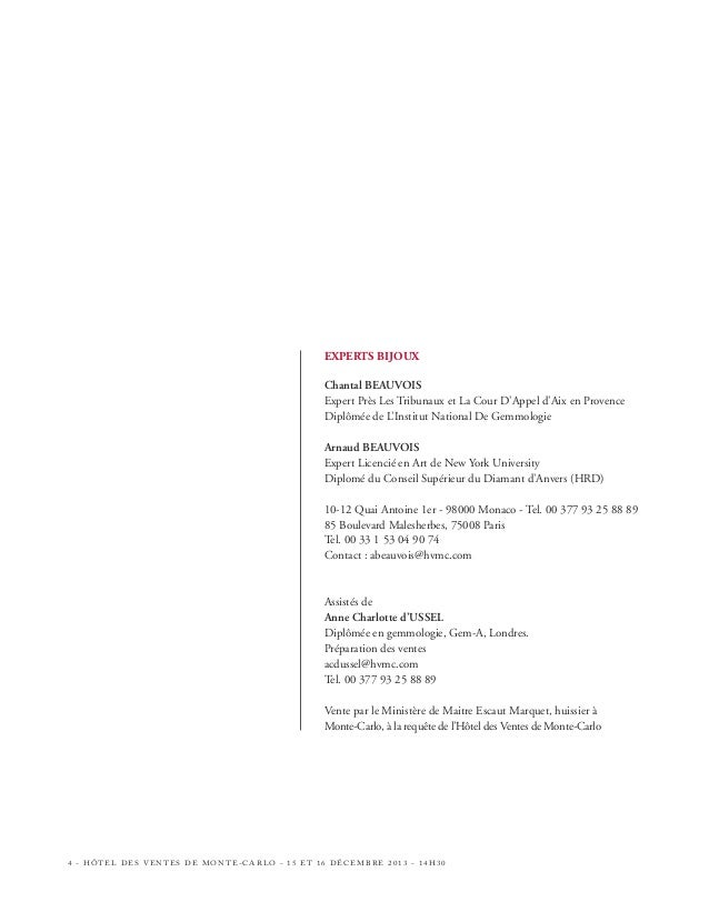 PREMIÈRE VACATION DIMANCHE 15 DÉCEMBRE 2013 15H LOTS N° 1 À 188