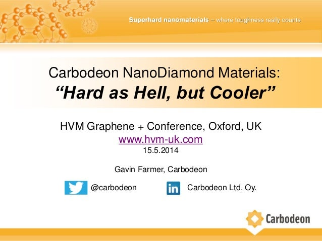 "HVM Graphene + Conference, Oxford, UK www.hvm-uk.com 15.5.2014 Gavin Farmer, Carbodeon Carbodeon NanoDiamond Materials: ""H..."