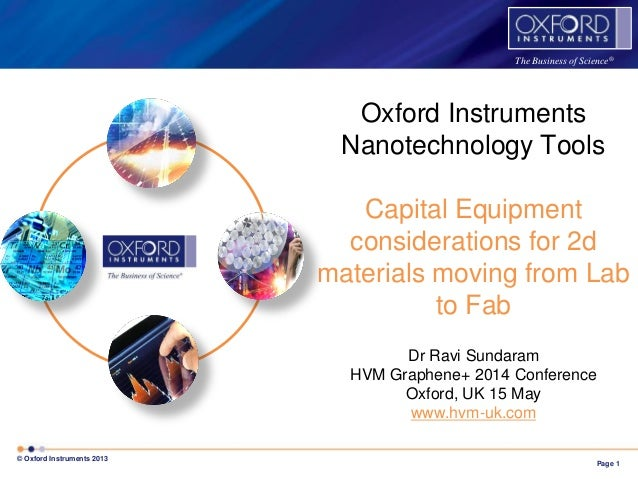 Page 1 © Oxford Instruments 2013 The Business of Science® Oxford Instruments Nanotechnology Tools Capital Equipment consid...