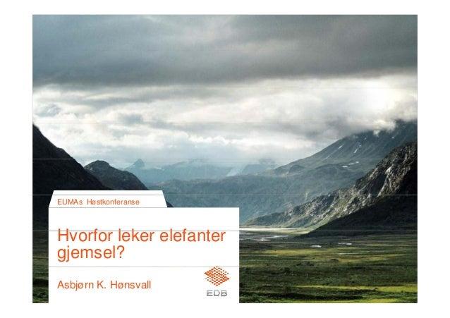 H f l k l f t EUMAs Høstkonferanse Hvorfor leker elefanter gjemsel? Asbjørn K. Hønsvall
