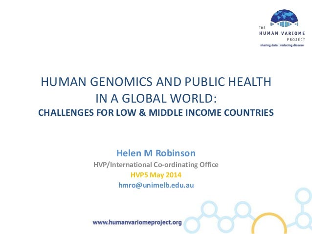 HUMAN GENOMICS AND PUBLIC HEALTH IN A GLOBAL WORLD: CHALLENGES FOR LOW & MIDDLE INCOME COUNTRIES Helen M Robinson HVP/Inte...