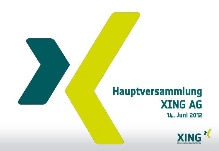 Hauptversammlung         XING AG         14. Juni 2012