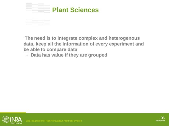 .06 01/15/2018 Plant Sciences The need is to integrate complex and heterogenous data, keep all the information of every ex...