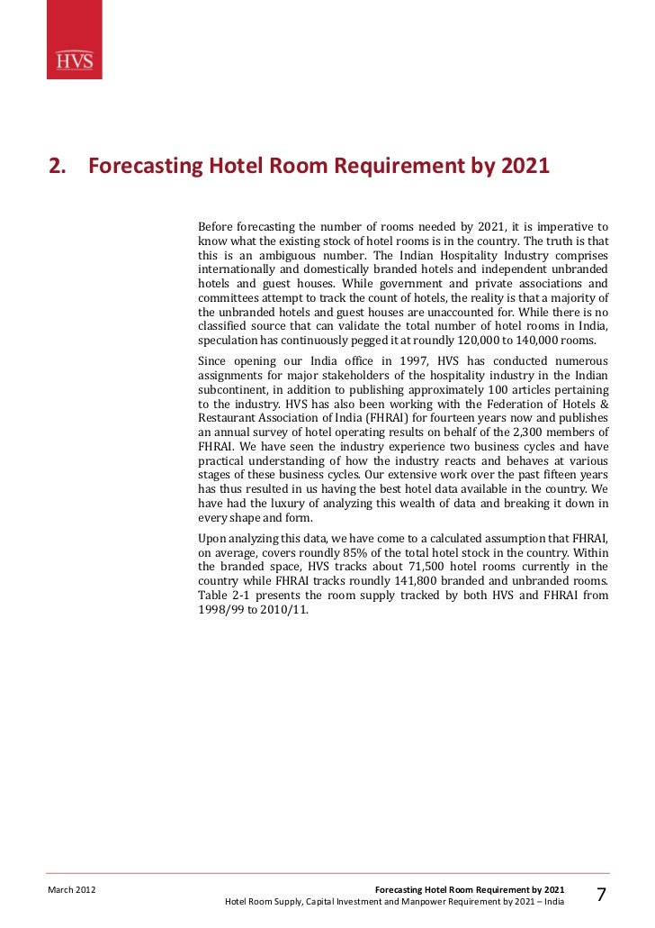 India Hotel Room Supply, Capital Investment and Manpower Requirement by 2021