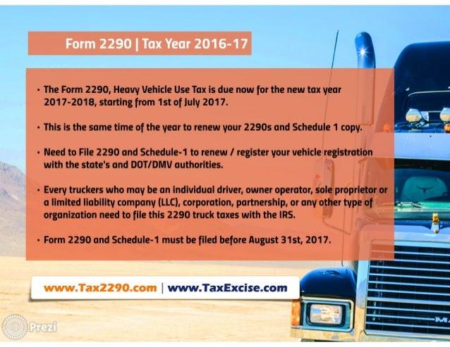 HVUT 2290 for 2017 tax year Slide 3