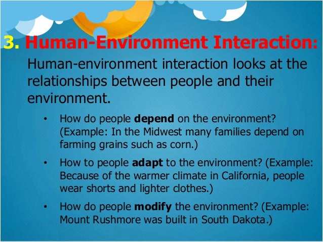 interactions with humans and the environment Human-environment interaction [stds 8, 12, 14-18] movement east asia standard 3: analyzing the spatial organization of people, places, and environments.