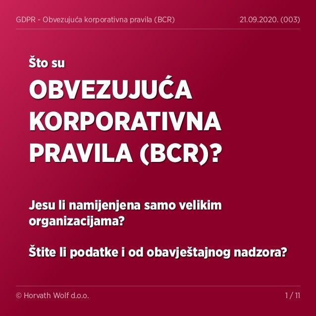 GDPR - Obvezujuća korporativna pravila (BCR) 21.09.2020. (003) © Horvath Wolf d.o.o. 1 / 11 Što su OBVEZUJUĆA KORPORATIVNA...