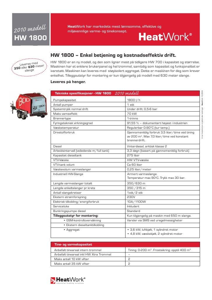 2010 modell                                  HeatWork har markedets mest lønnsomme, effektive og                          ...