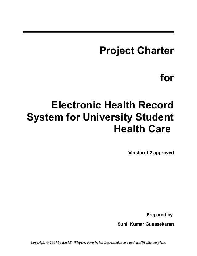 Hw1 project charter electronic health record for university health ca…