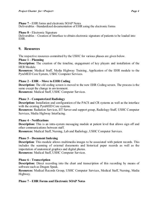 Hw1 project charter electronic health record for university