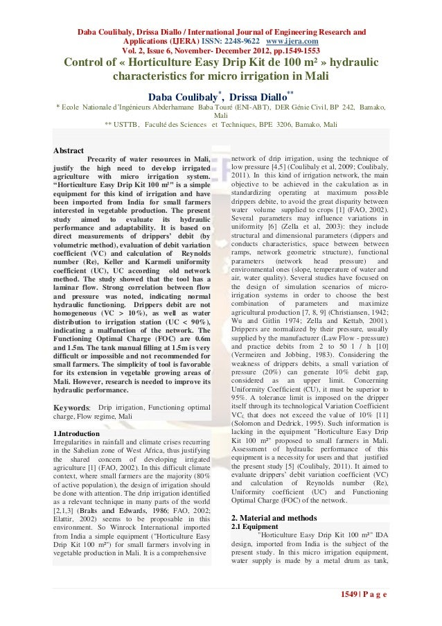 Daba Coulibaly, Drissa Diallo / International Journal of Engineering Research and                   Applications (IJERA) I...