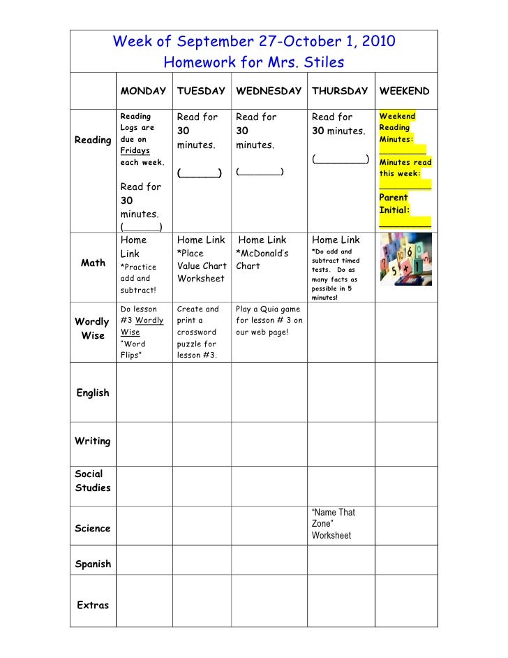 Week of September 27-October 1, 2010                 Homework for Mrs. Stiles            MONDAY       TUESDAY      WEDNESD...