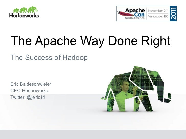 The Apache Way Done RightThe Success of HadoopEric BaldeschwielerCEO HortonworksTwitter: @jeric14
