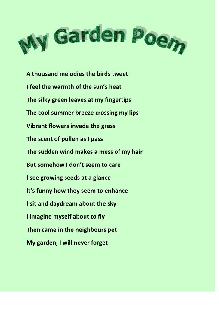 A thousand melodies the birds tweetI feel the warmth of the sun's heatThe silky green leaves at my fingertipsThe cool summ...