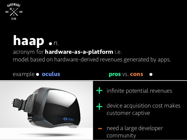 haap n. acronym for hardware-as-a-platform i.e. model based on hardware-derived revenues generated by apps. example pros v...