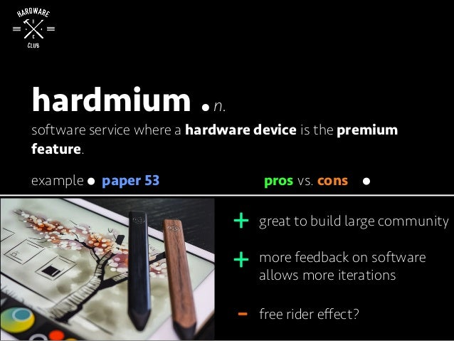 hardmium n. software service where a hardware device is the premium feature. great to build large community more feedback ...