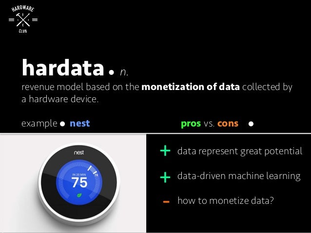 hardata n. revenue model based on the monetization of data collected by a hardware device. data represent great potential ...