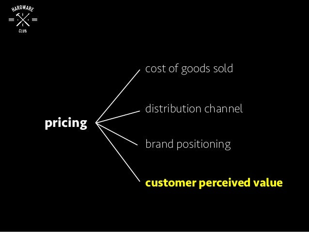 pricing cost of goods sold distribution channel brand positioning customer perceived value