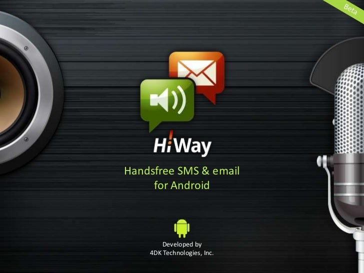 …then reply by    voice. 100%   handsfree.<br />Listen to your incoming texts and emails…<br />A brief guide to setting up...