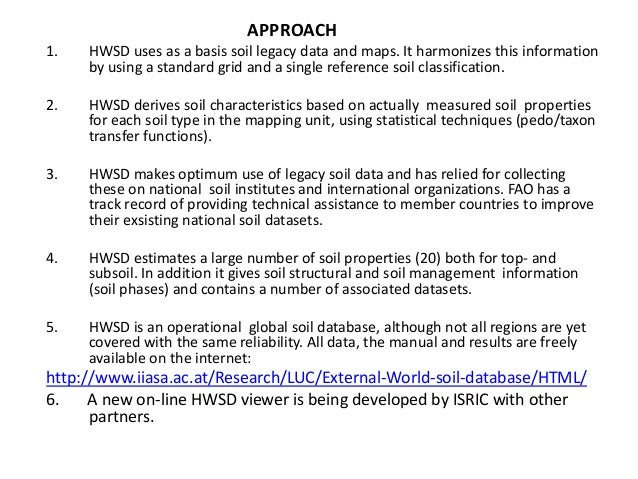 The harmonized world soil database hwsd a global soil for Three uses of soil