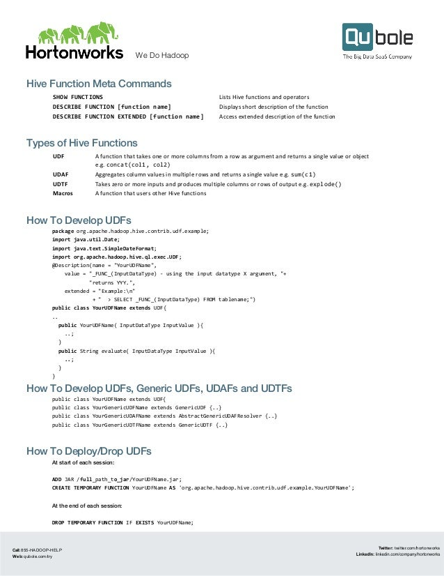Hive Functions Cheat Sheet