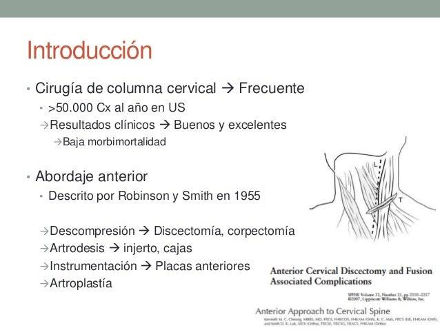 Complicaciones de la Cirugía de Columna Cervical Anterior