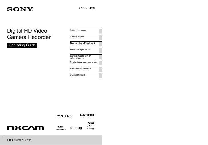 4-273-940-13(1)Digital HD Video   Table of contentsCamera Recorder    Getting started                   Recording/Playback...
