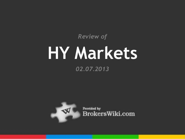 Review ofHY Markets   02.07.2013