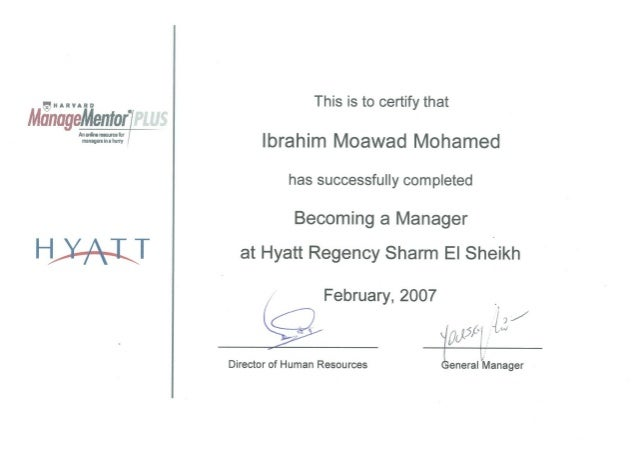 Qiuiivaito  ManageMeniar'[  rrunouminliimy I  HJAJLT  This is to certify that Ibrahim Moawad Mohamed  has successfully com...
