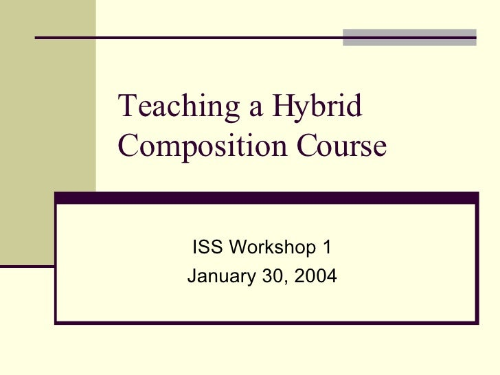 Teaching a Hybrid Composition Course ISS Workshop 1 January 30, 2004