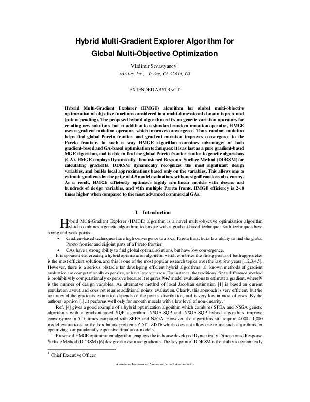 Hybrid Multi-Gradient Explorer Algorithm for                        Global Multi-Objective Optimization                   ...