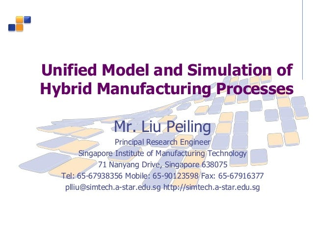 Unified Model and Simulation of Hybrid Manufacturing Processes Mr. Liu Peiling Principal Research Engineer Singapore Insti...