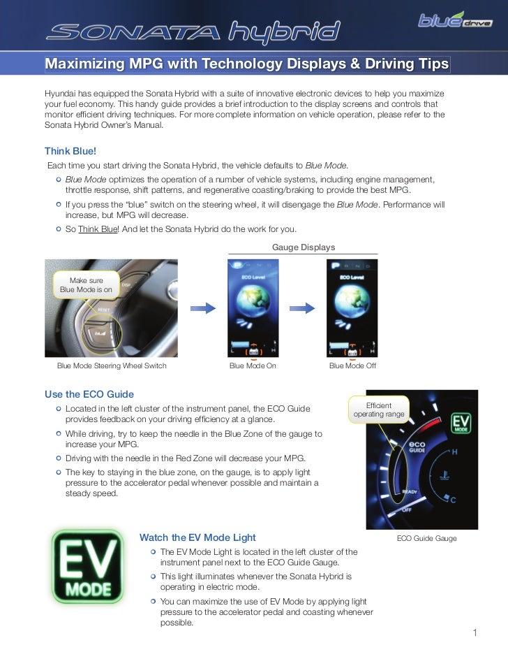 2011 Sonata Hybrid - Maximizing MPG - Glenbrook Hyundai