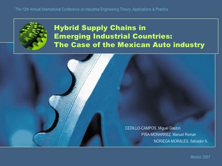 Hybrid Supply Chains in Emerging Industrial Countries: The Case of the Mexican Auto industry CEDILLO-CAMPOS, Miguel Gaston...