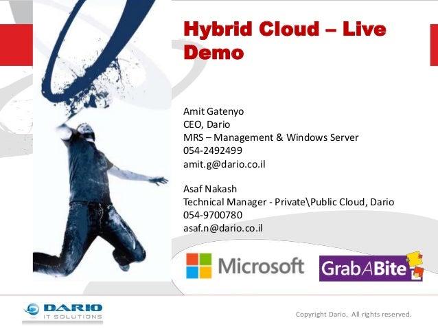 Hybrid Cloud – Live Demo Amit Gatenyo CEO, Dario MRS – Management & Windows Server 054-2492499 amit.g@dario.co.il Asaf Nak...