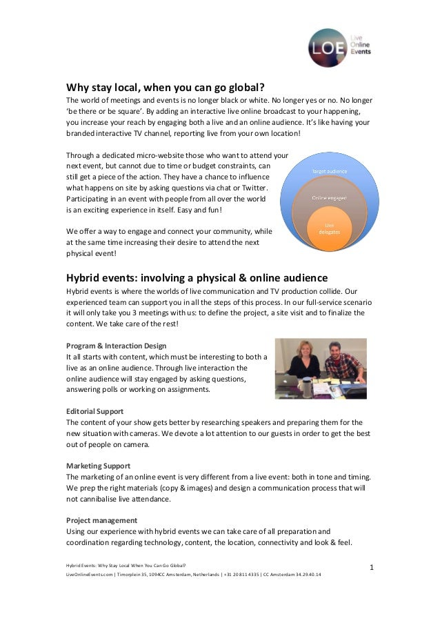 Hybrid Events: Why Stay Local When You Can Go Global? LiveOnlineEvents.com   Timorplein 35, 1094CC Amsterdam, Netherlands ...