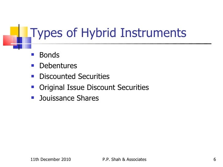 types of hybrid instrument Hybrid securities: an overview some common types of hybrid securities the types of companies that have issued hybrid cations for hybrid instruments.