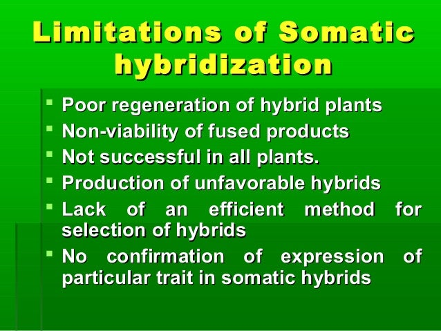 Limitations of SomaticLimitations of Somatic hybridizationhybridization  Poor regeneration of hybrid plantsPoor regenerat...