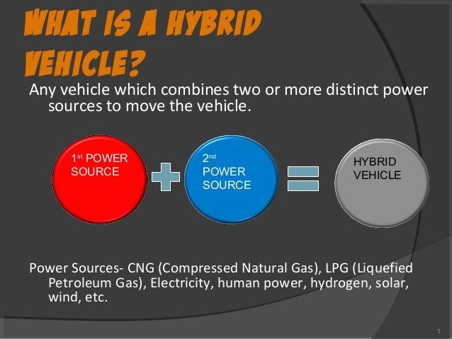 WHAT IS A HYBRID VEHICLE? Any vehicle which combines two or more distinct power sources to move the vehicle. Power Sources...