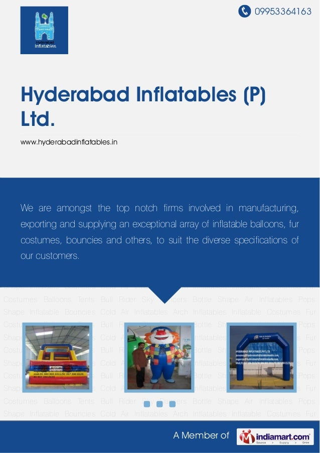 09953364163A Member ofHyderabad Inflatables (P)Ltd.www.hyderabadinflatables.inInflatable Bouncies Cold Air Inflatables Arc...