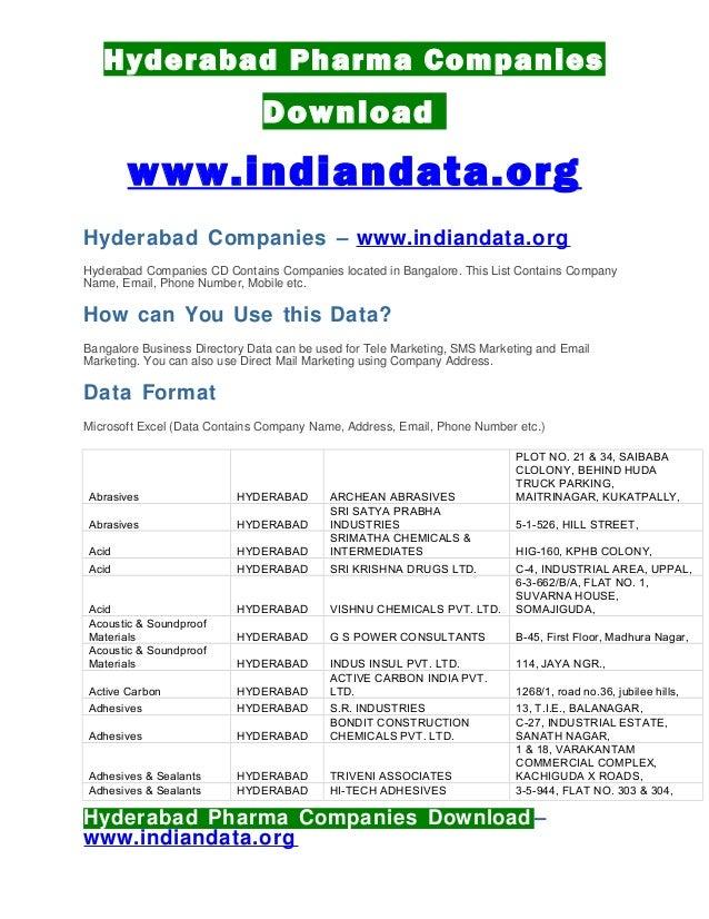 Hyderabad pharma companies list