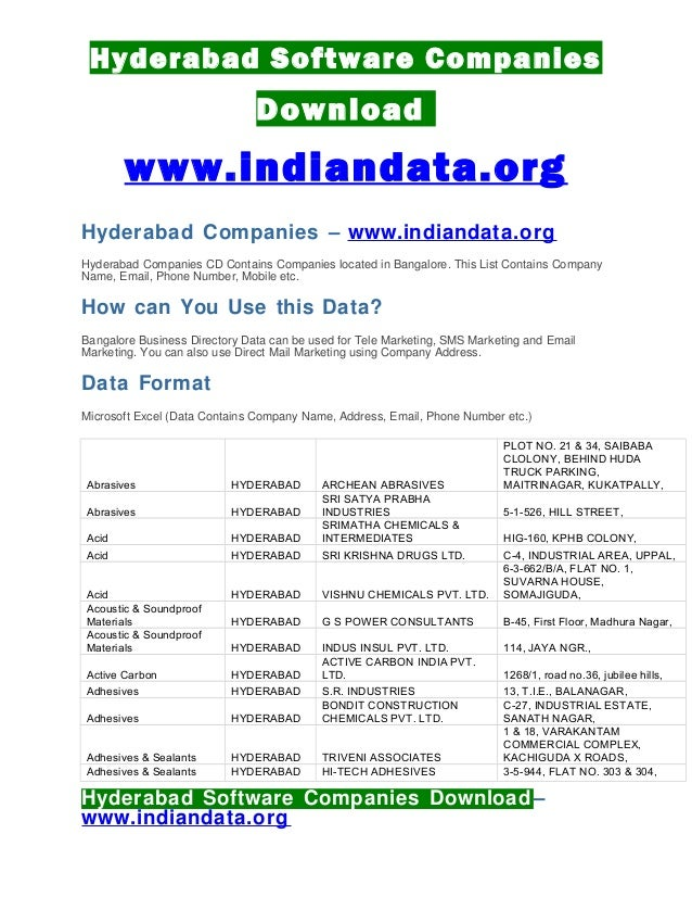 Software Companies Hyderabad Hitech City List - basicseng's blog