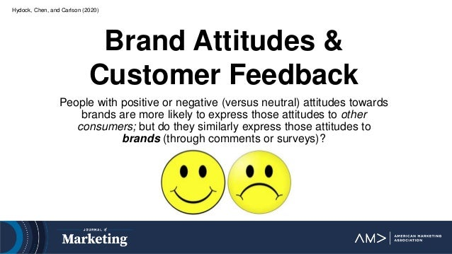 Hydock, Chen, and Carlson (2020) Brand Attitudes & Customer Feedback People with positive or negative (versus neutral) att...