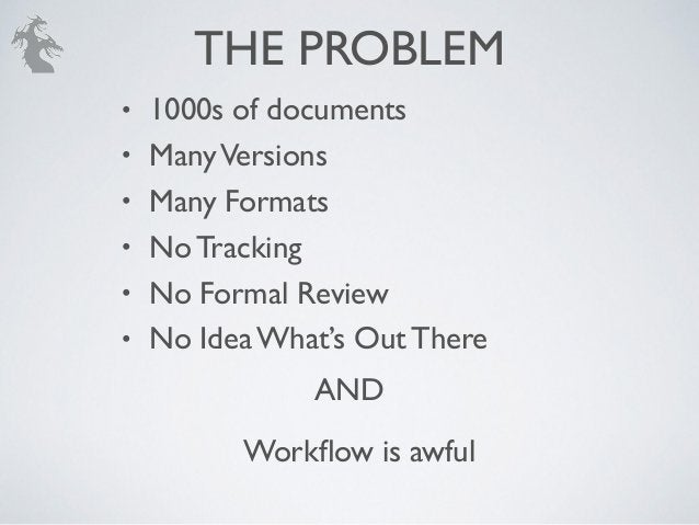 • 1000s of documents! • ManyVersions! • Many Formats! • No Tracking! • No Formal Review! • No Idea What's Out There THE PR...