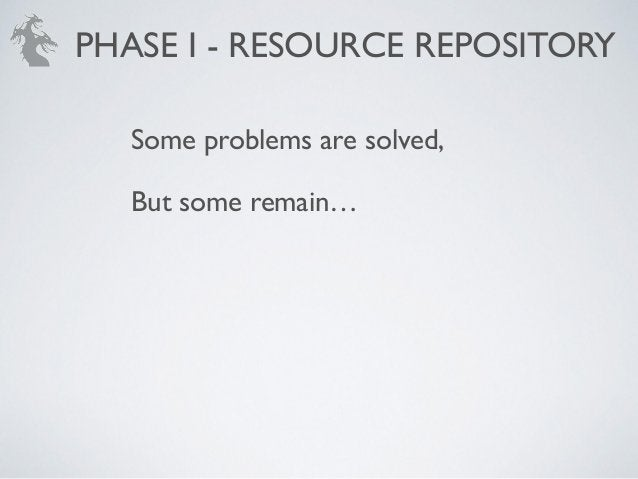 Some problems are solved,! But some remain… PHASE I - RESOURCE REPOSITORY
