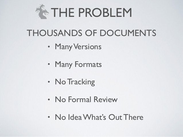 • ManyVersions! • Many Formats! • No Tracking! • No Formal Review! • No Idea What's Out There THOUSANDS OF DOCUMENTS THE P...