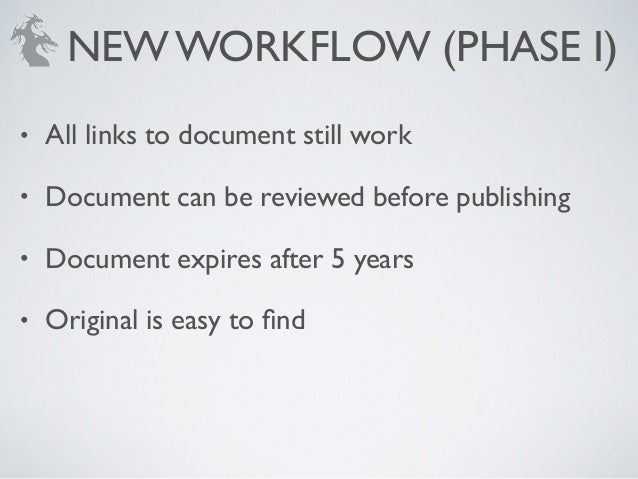• All links to document still work! • Document can be reviewed before publishing! • Document expires after 5 years! • Orig...