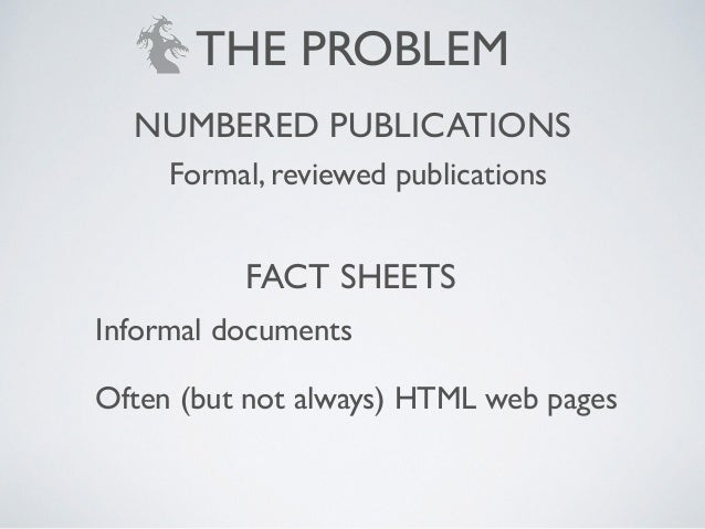 Formal, reviewed publications Informal documents! Often (but not always) HTML web pages NUMBERED PUBLICATIONS FACT SHEETS ...