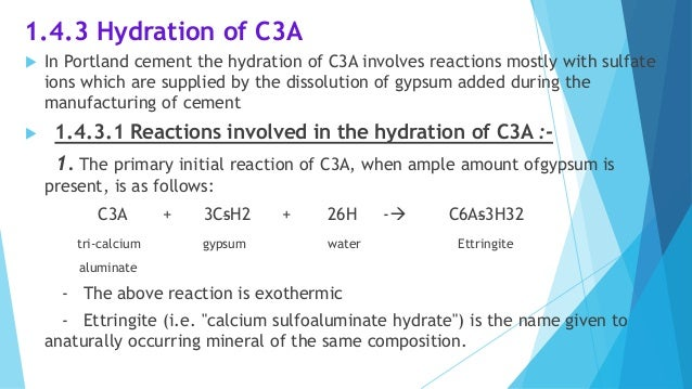 Hydration Of Portland Cement : Hydration of cement